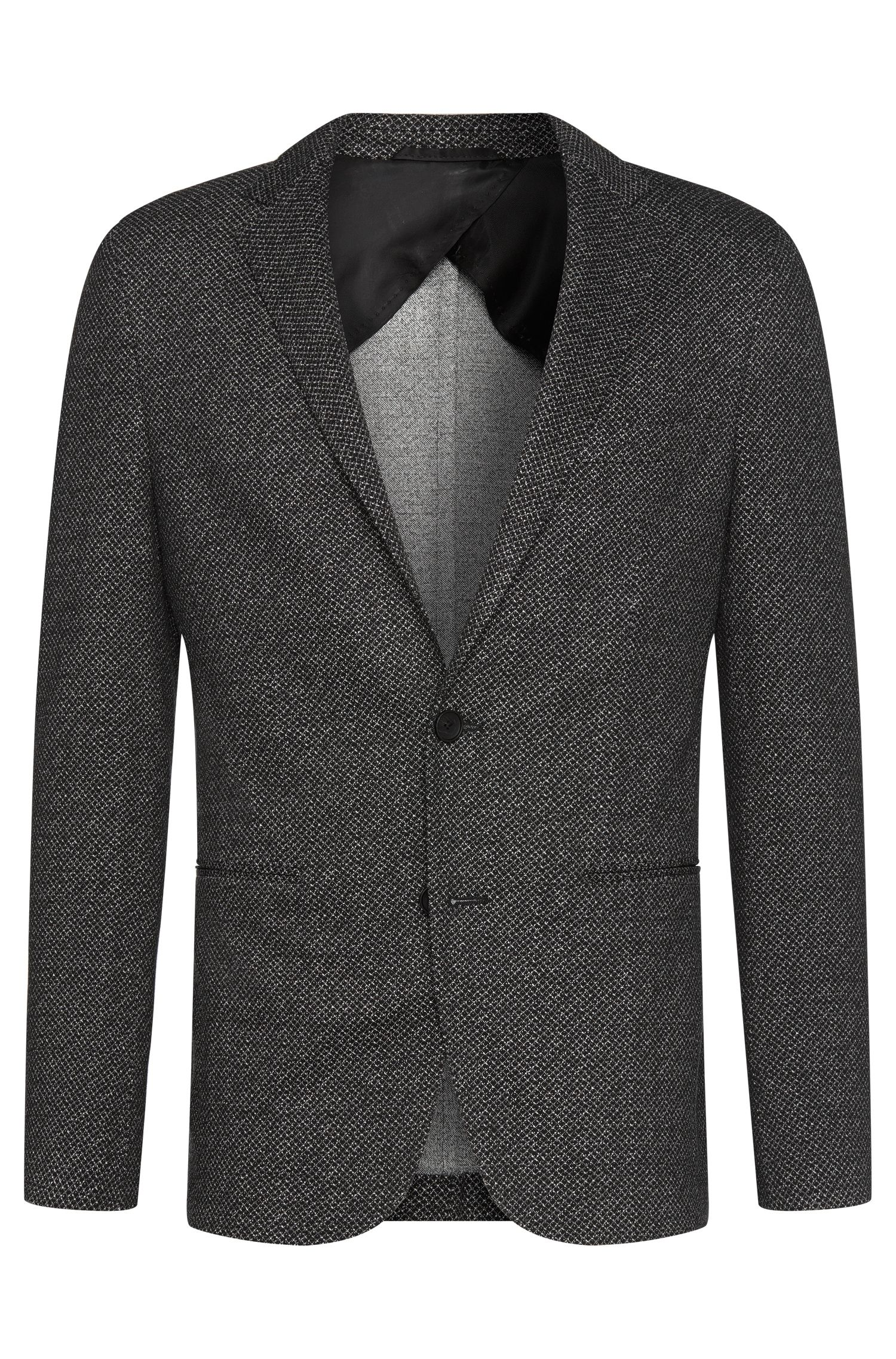 Veste de costume Slim Fit à motif en viscose stretch : « Norwin1 »