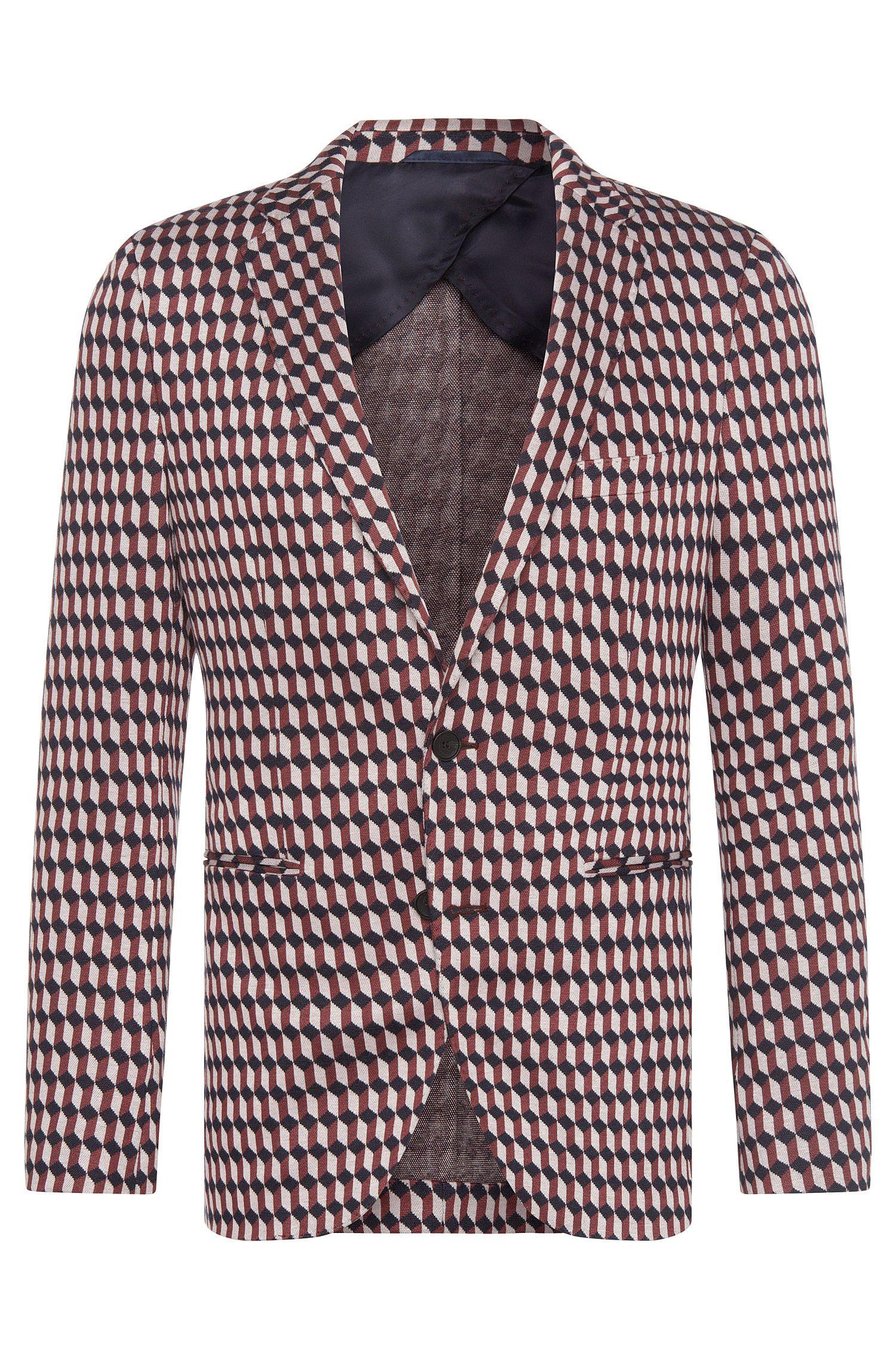 Veste de costume Slim Fit à motif en viscose mélangée extensible: «Norwin1»