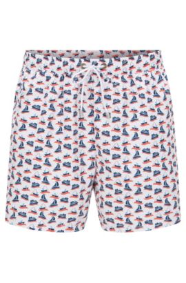 Patterned swim shorts in a quick-drying material blend: 'Piranha', Open White