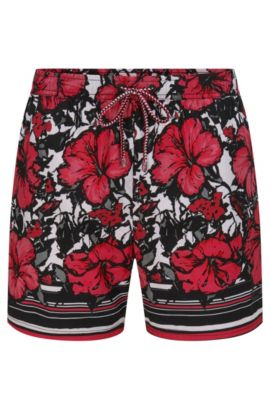 Patterned swim shorts in a quick-drying material blend: 'Piranha', Open Pink