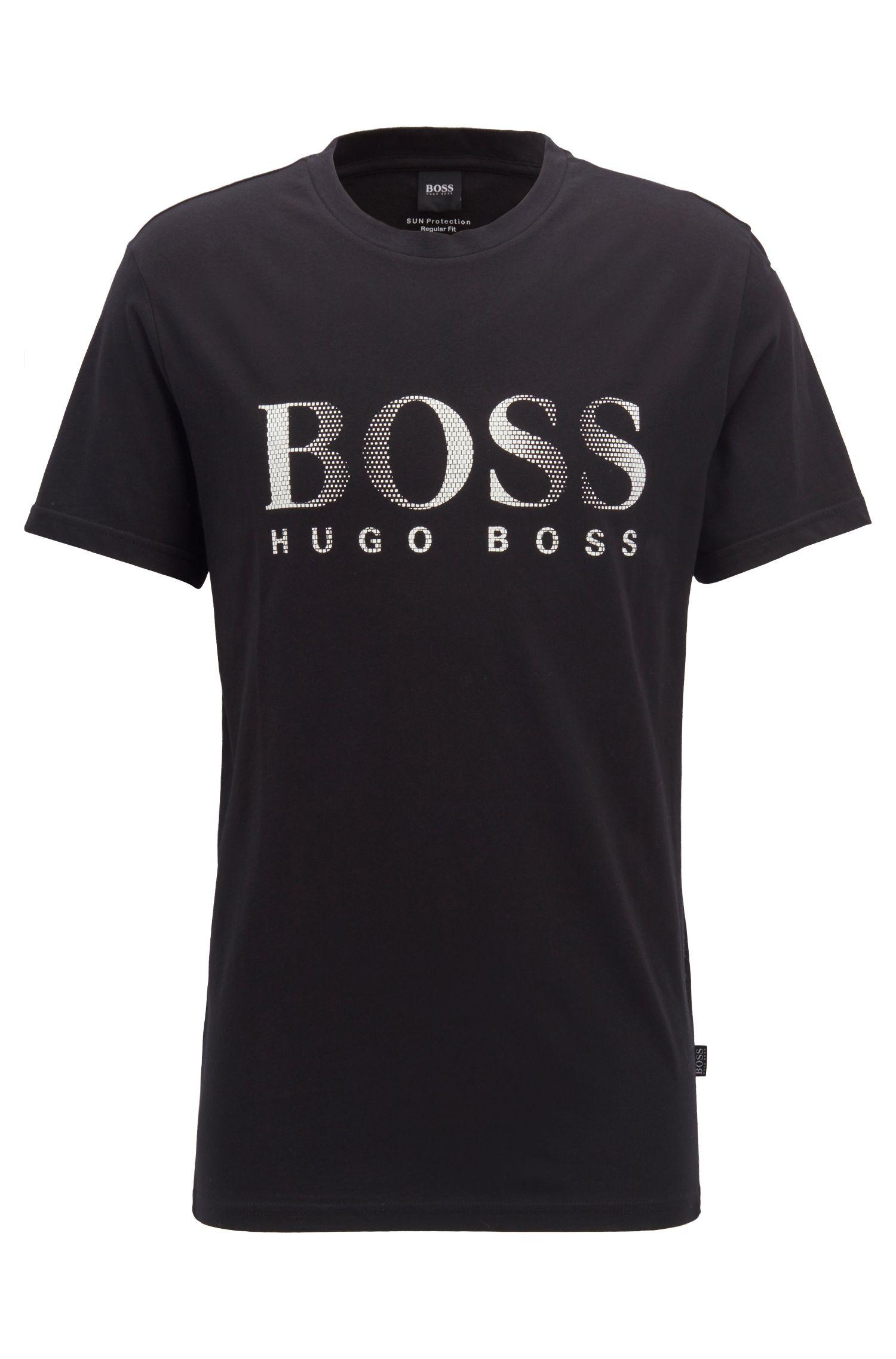 T-shirt relaxed fit in cotone con protezione UV, Nero