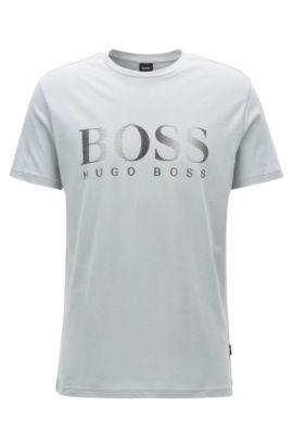 Relaxed-fit T-shirt van katoen met uv-bescherming, Lichtgrijs