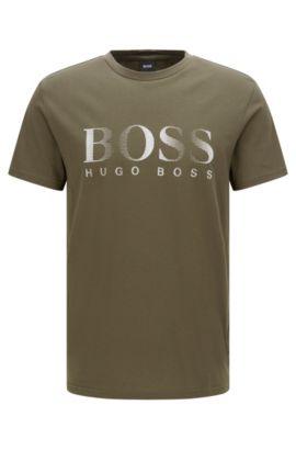 T-shirt Relaxed Fit en coton avec protection anti-UV, Vert sombre