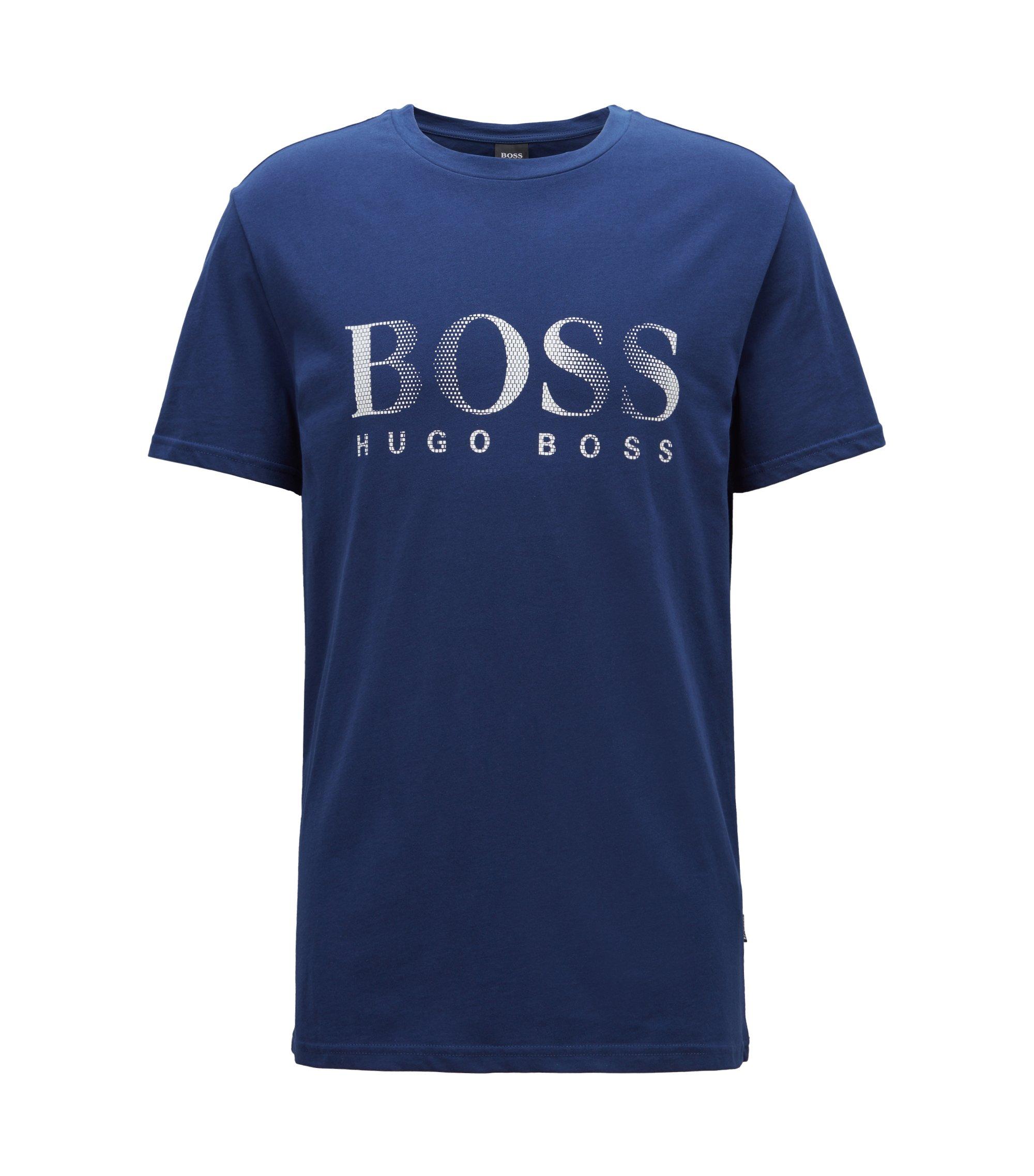Relaxed-fit T-shirt van katoen met uv-bescherming, Donkerblauw
