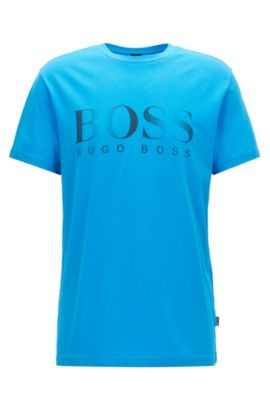 Relaxed-fit cotton T-shirt with UV protection, Blue