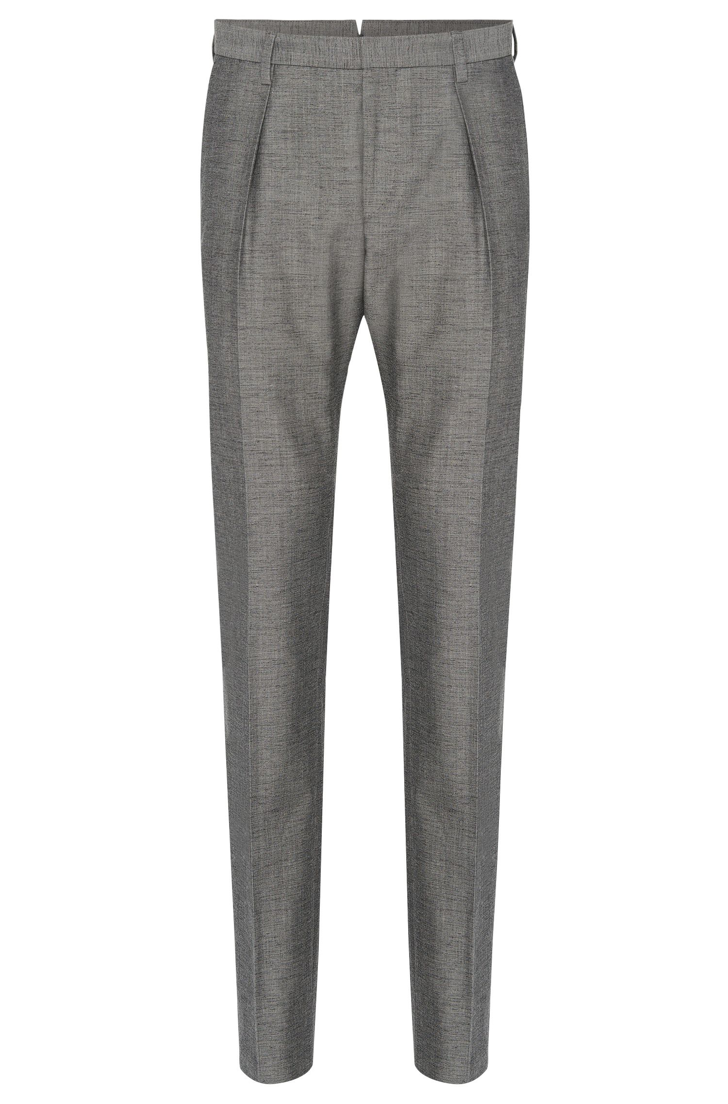 Melierte Slim-Fit Tailored Hose aus Schurwoll-Mix mit Baumwolle: 'T-Gilman'