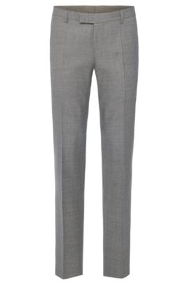 Pantalon Regular Fit Tailored en laine vierge : « T-Court5 », Gris chiné