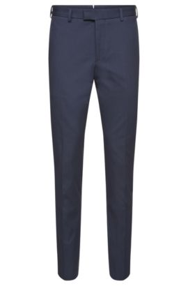 Slim-fit Tailored trousers in finely ribbed stretch cotton: 'T-Bak', Open Blue