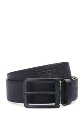 Leather belt with distinctive embossing: 'Tuscon_Sz35_ltem', Dark Blue