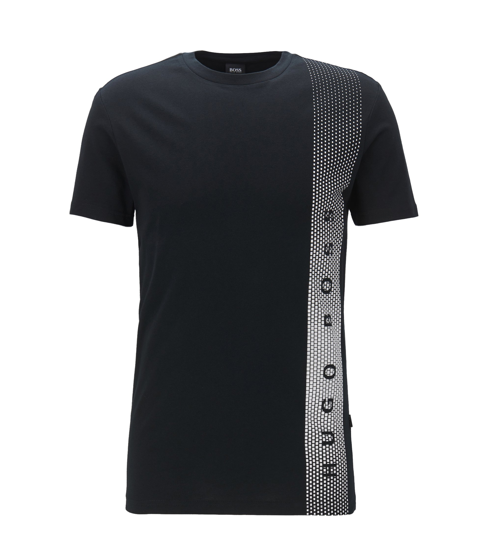 Slim-fit cotton T-shirt with UV protection, Black
