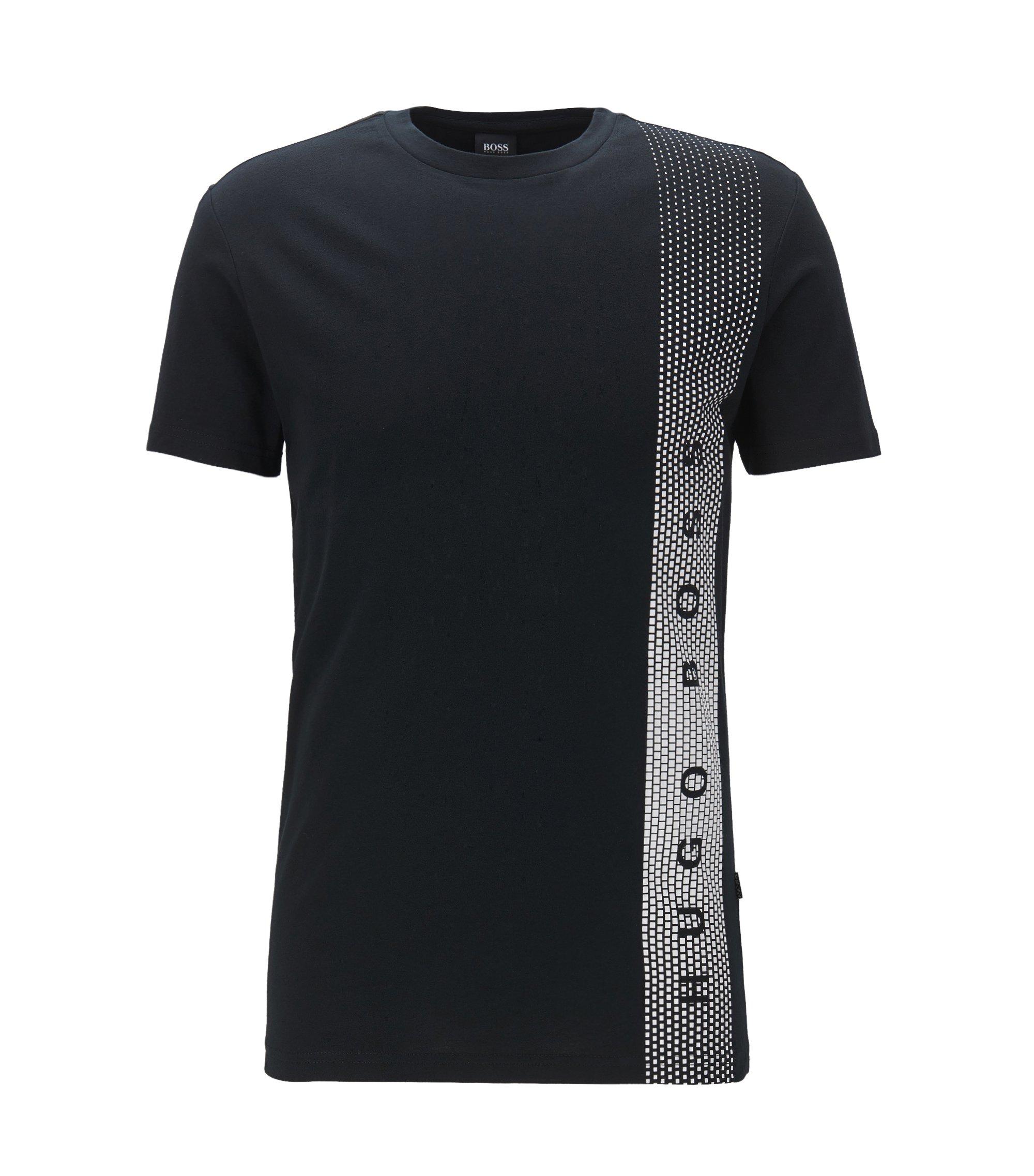 Slim-fit T-shirt van katoen met uv-bescherming, Zwart