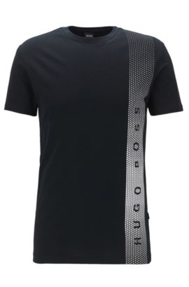 T-shirt Slim Fit en coton avec protection anti-UV, Noir