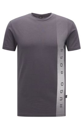 Slim-fit cotton T-shirt with UV protection, Anthracite