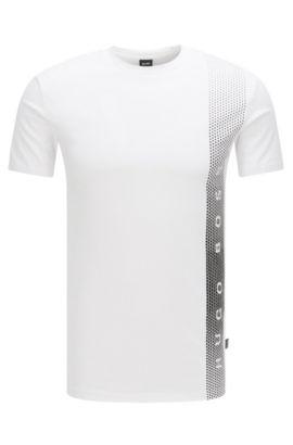 T-shirt slim fit in cotone con protezione UV, Bianco