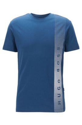 T-shirt slim fit in cotone con protezione UV, Blu scuro