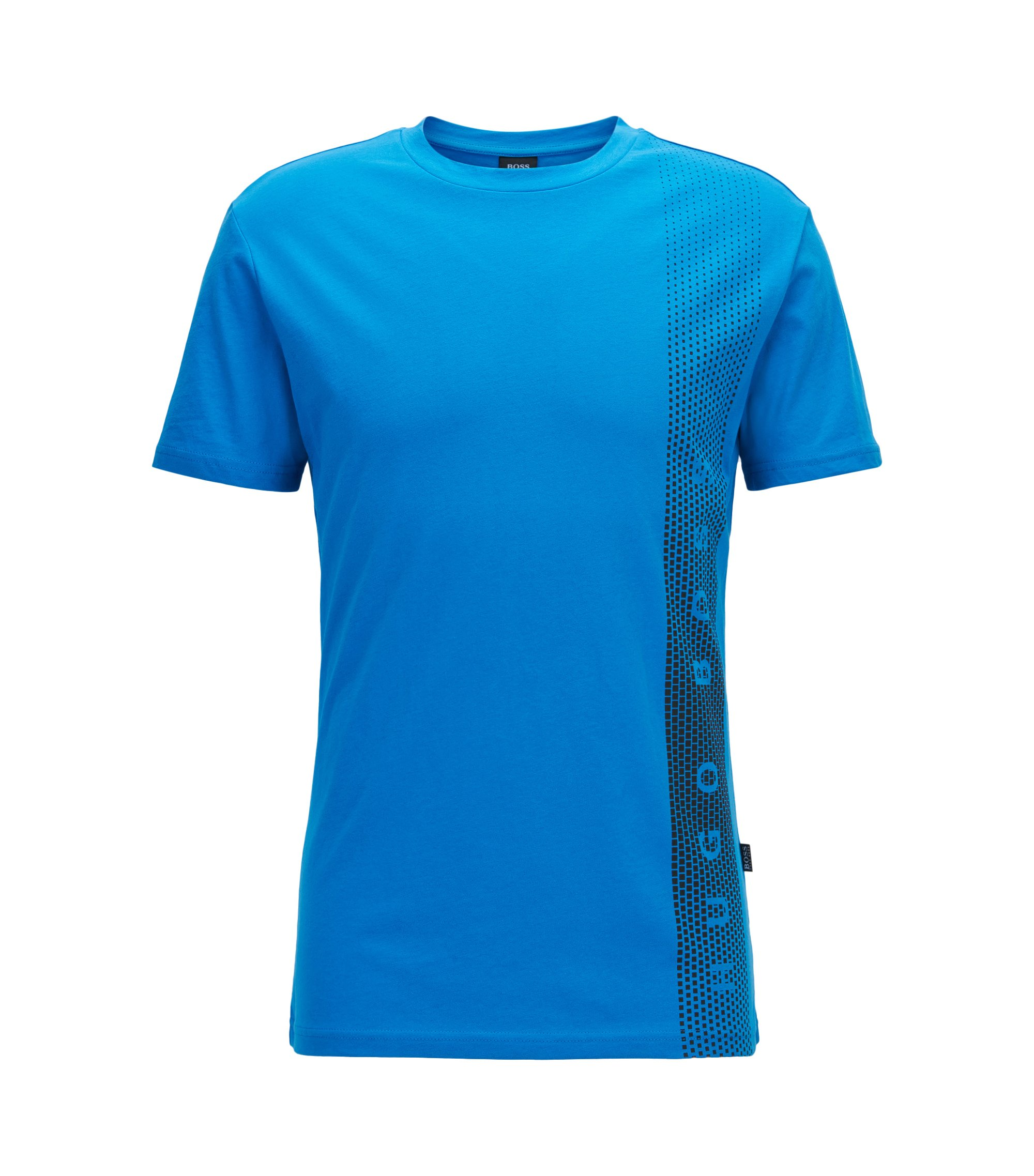 T-shirt Slim Fit en coton avec protection anti-UV, Bleu