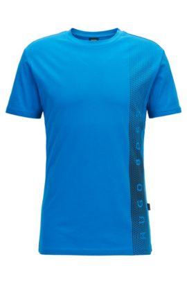 T-shirt Slim Fit en coton avec protection anti-UV, Bleu