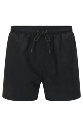 Plain swim shorts in a quick-drying material blend: 'Lizardfish', Black