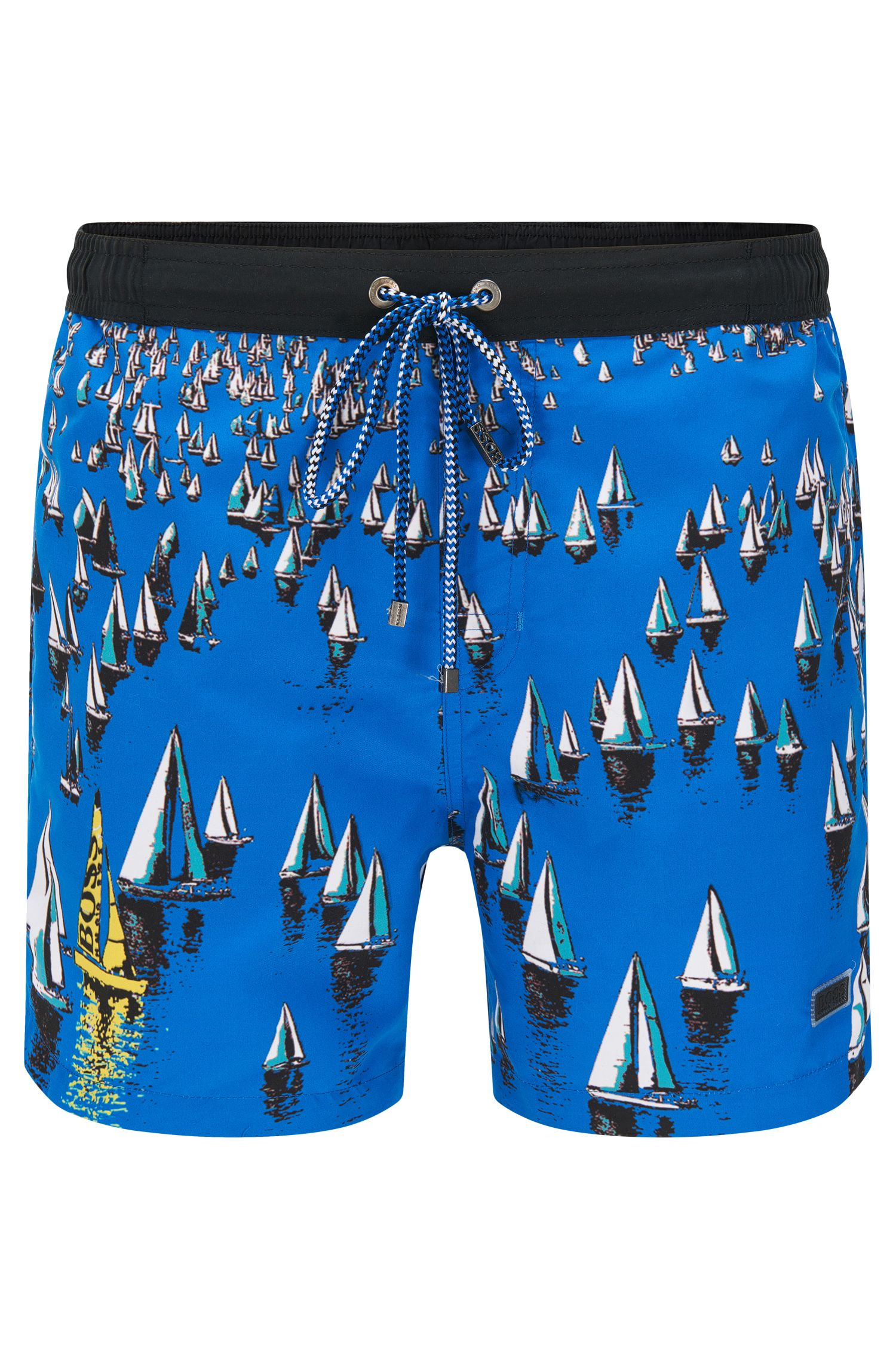Quick-drying swim shorts in material blend with an all-over pattern: 'Mandarinfish'