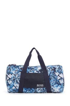 Gemusterte Strandtasche aus schnelltrocknendem Material-Mix: 'Beach Bag', Hellblau