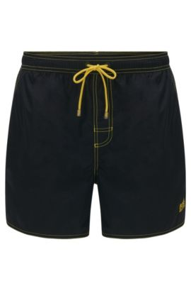 Short-length swim shorts in technical fabric, Black