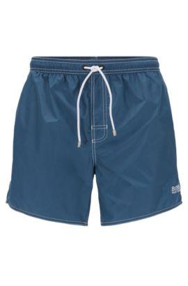 Short de bain court, en tissu technique, Bleu foncé