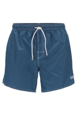 Short-length swim shorts in technical fabric, Dark Blue