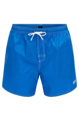Short-length swim shorts in technical fabric, Blue