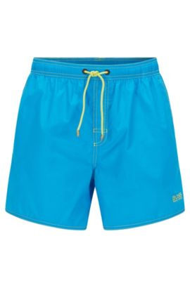 Short-length swim shorts in technical fabric, Turquoise