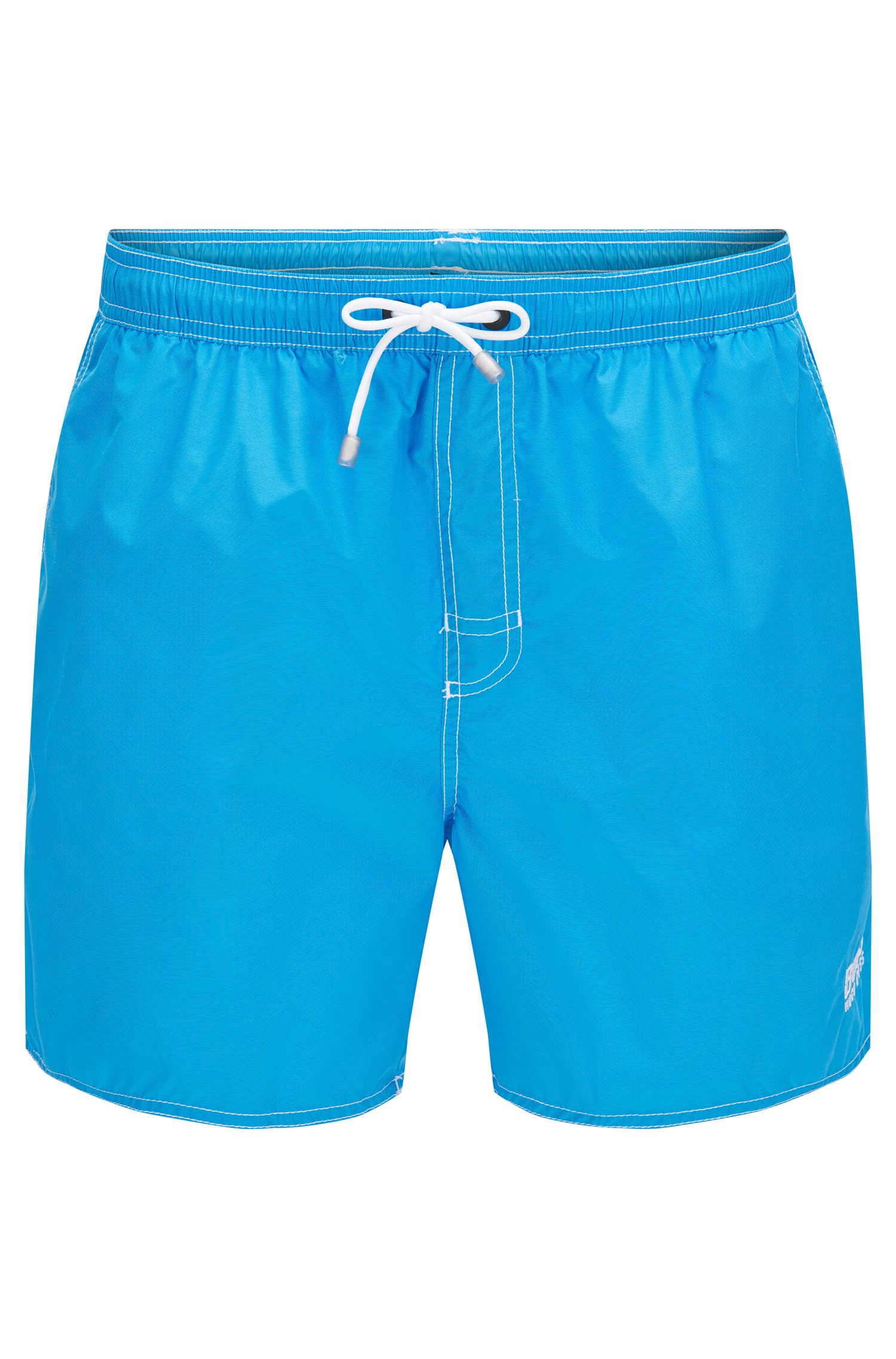 Short-length swim shorts in technical fabric, Light Blue
