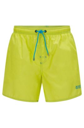 Short-length swim shorts in technical fabric, Yellow