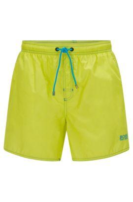 Short-length swim shorts in technical fabric, Yellow
