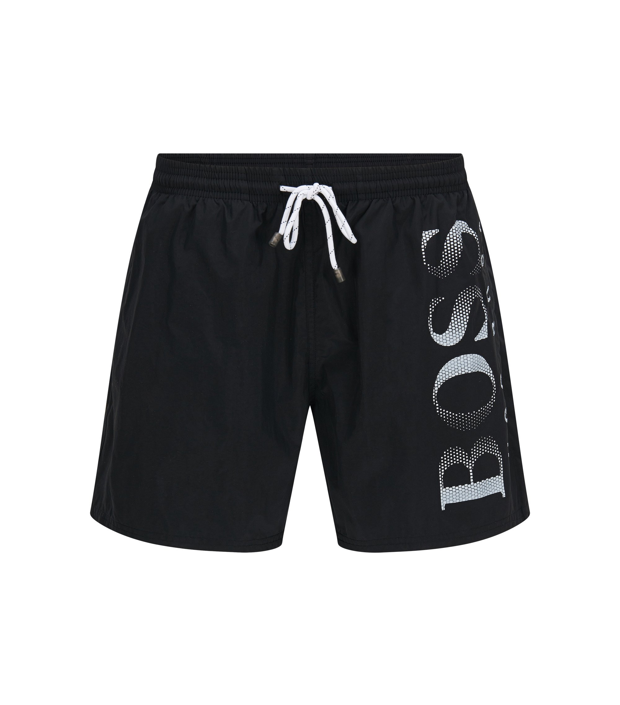 Drawstring swim shorts with logo print, Black