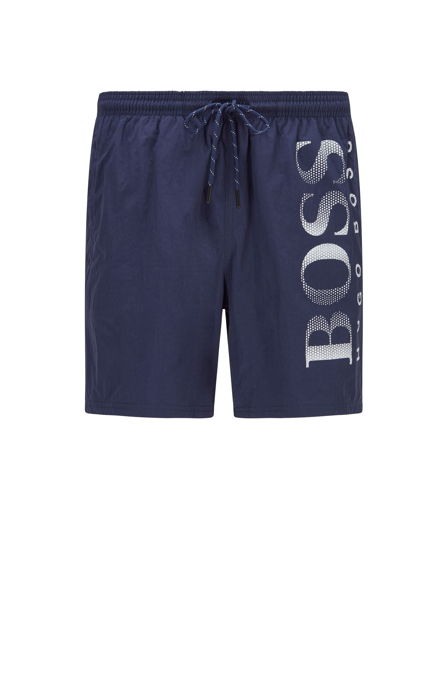 Drawstring swim shorts with logo print