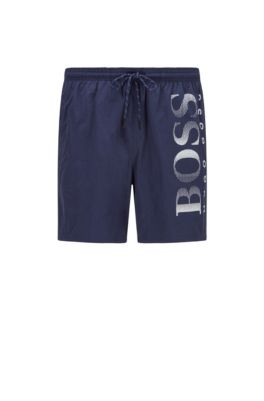 Quick-drying swim shorts with contrast logo, Dark Blue