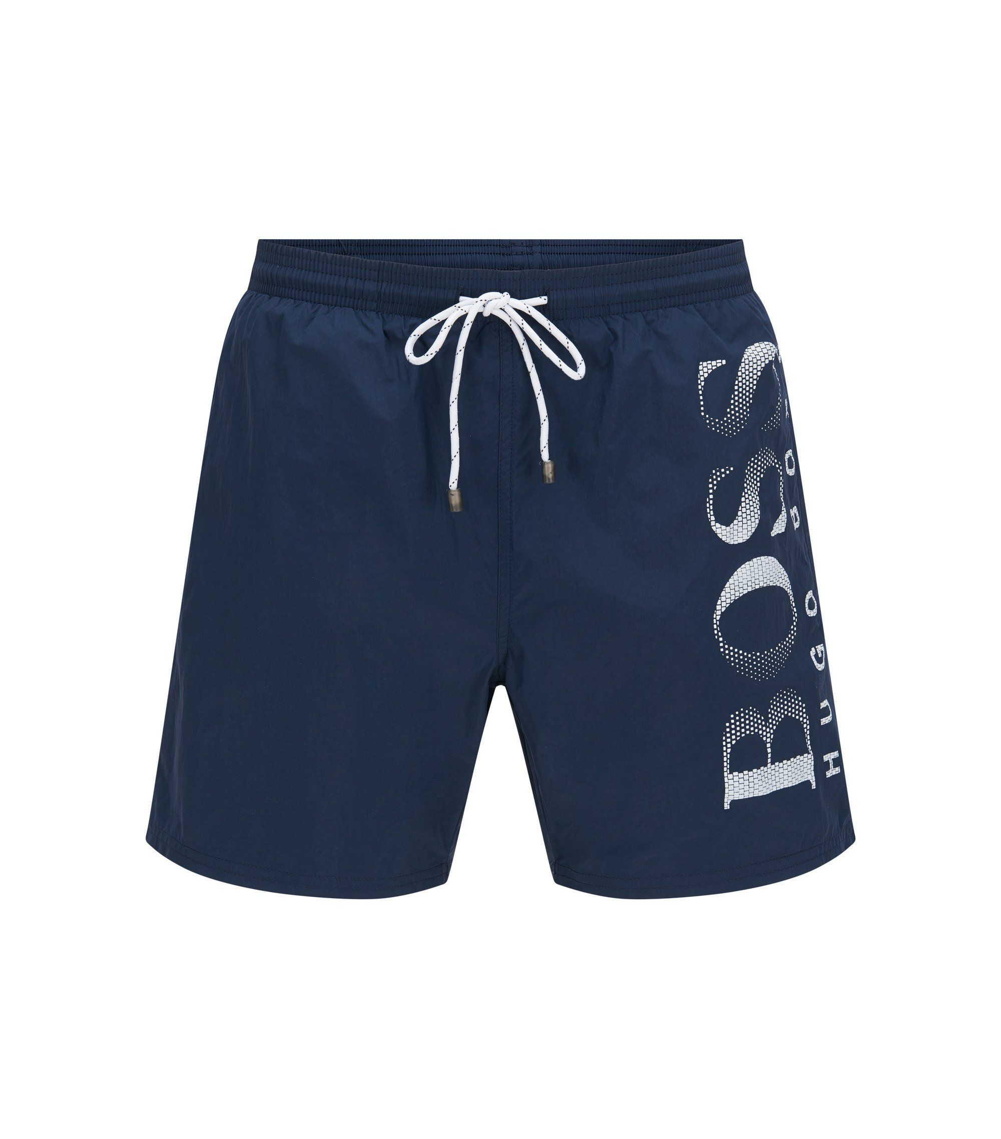 Drawstring swim shorts with logo print, Dark Blue