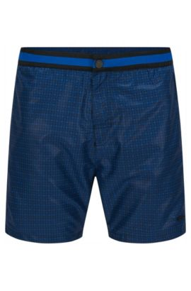 Finely patterned swim shorts in a quick-drying material blend: 'Kelpfish', Open Blue
