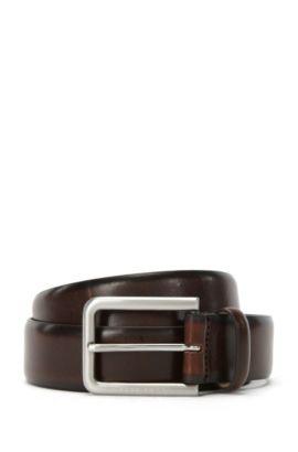 Tailored belt in finely grained leather: 'T-Liam_Sz35_ltst', Dark Brown