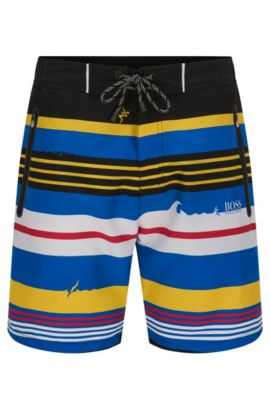 Striped swim shorts in a quick-drying material blend: 'Cavefish', Open Blue