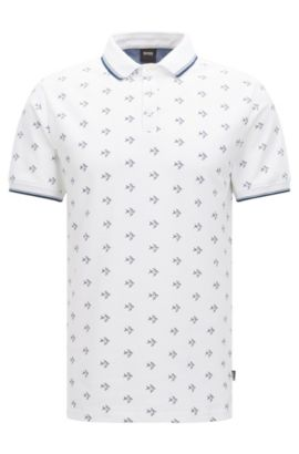 Easy-care slim-fit polo shirt in cotton with all-over pattern: 'Beach Polo Shirt', Open White