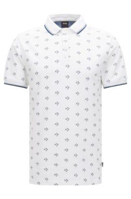 Onderhoudsvriendelijk slim-fit poloshirt van katoen met all-over dessin: 'Beach Polo Shirt', Wit