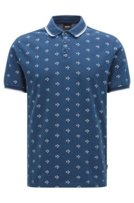 Easy-care slim-fit polo shirt in cotton with all-over pattern: 'Beach Polo Shirt', Dark Blue