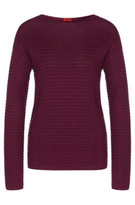 Sweater in stretch viscose blend with silk, cotton and cashmere: 'Suria', Purple