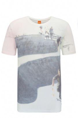 Maglietta in cotone regular fit con stampa fotografica: 'Tintype 3', Bianco