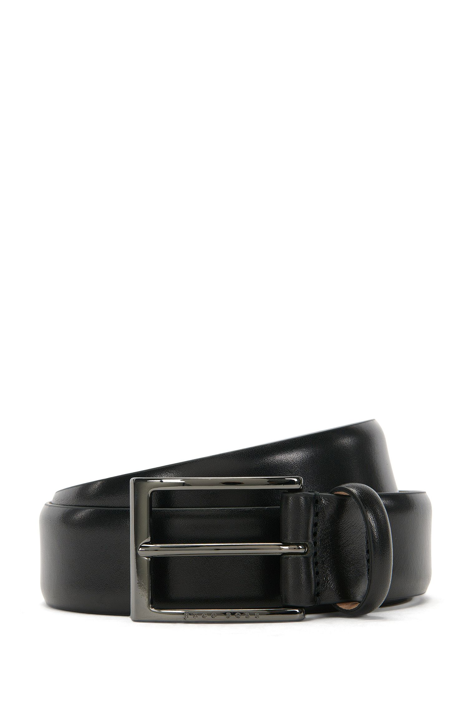BOSS Tailored belt in two-tone vegetable-tanned leather