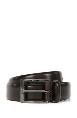 Cintura bicolore in pelle conciata al vegetale by BOSS Tailored, Marrone scuro