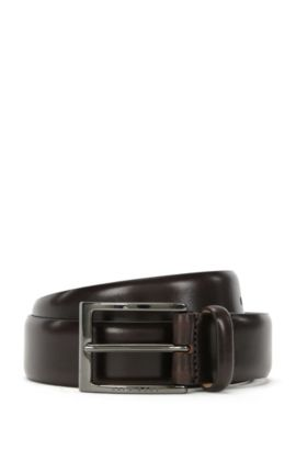 BOSS Tailored belt in two-tone vegetable-tanned leather, Dark Brown
