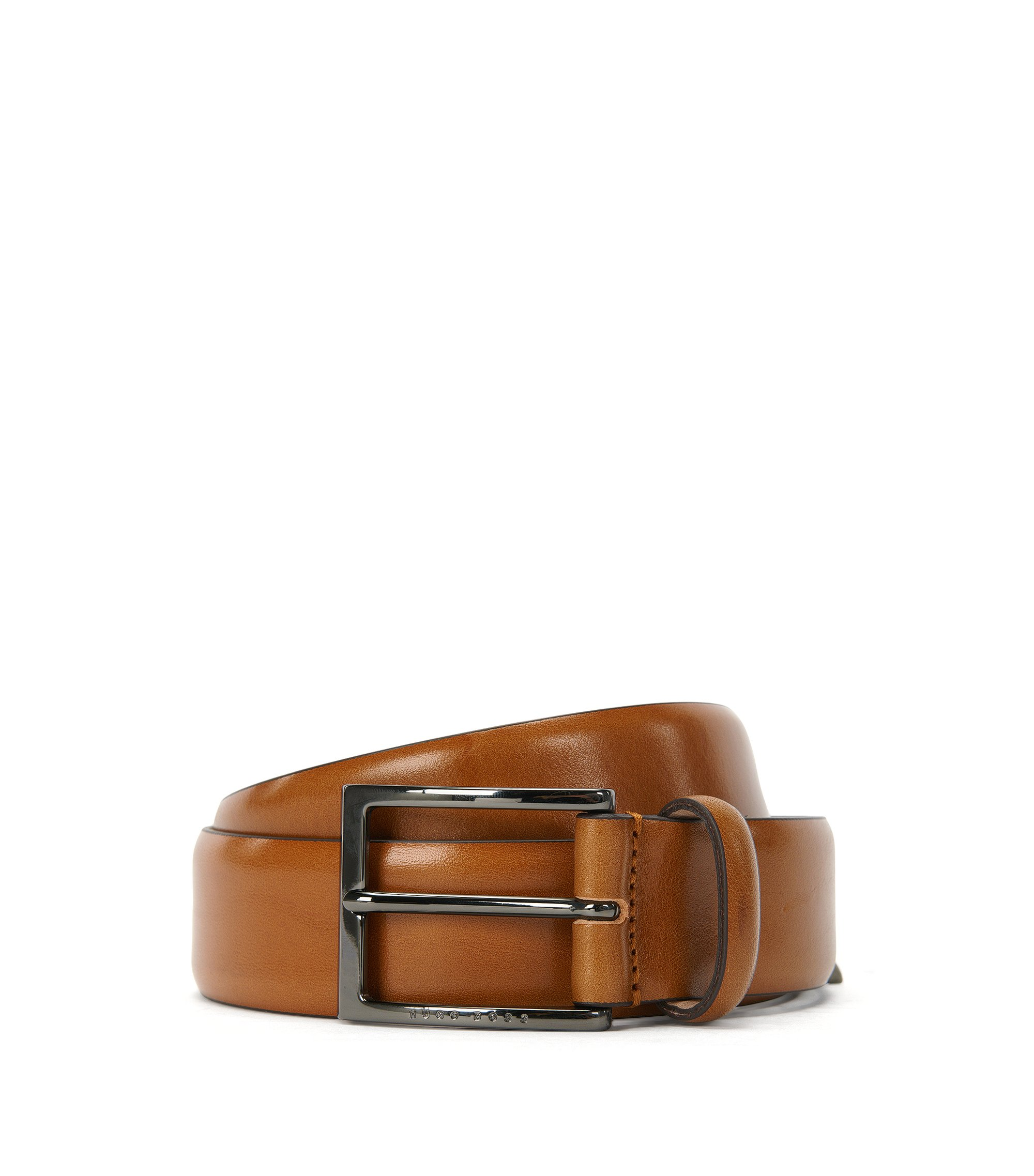 BOSS Tailored belt in two-tone vegetable-tanned leather, Brown
