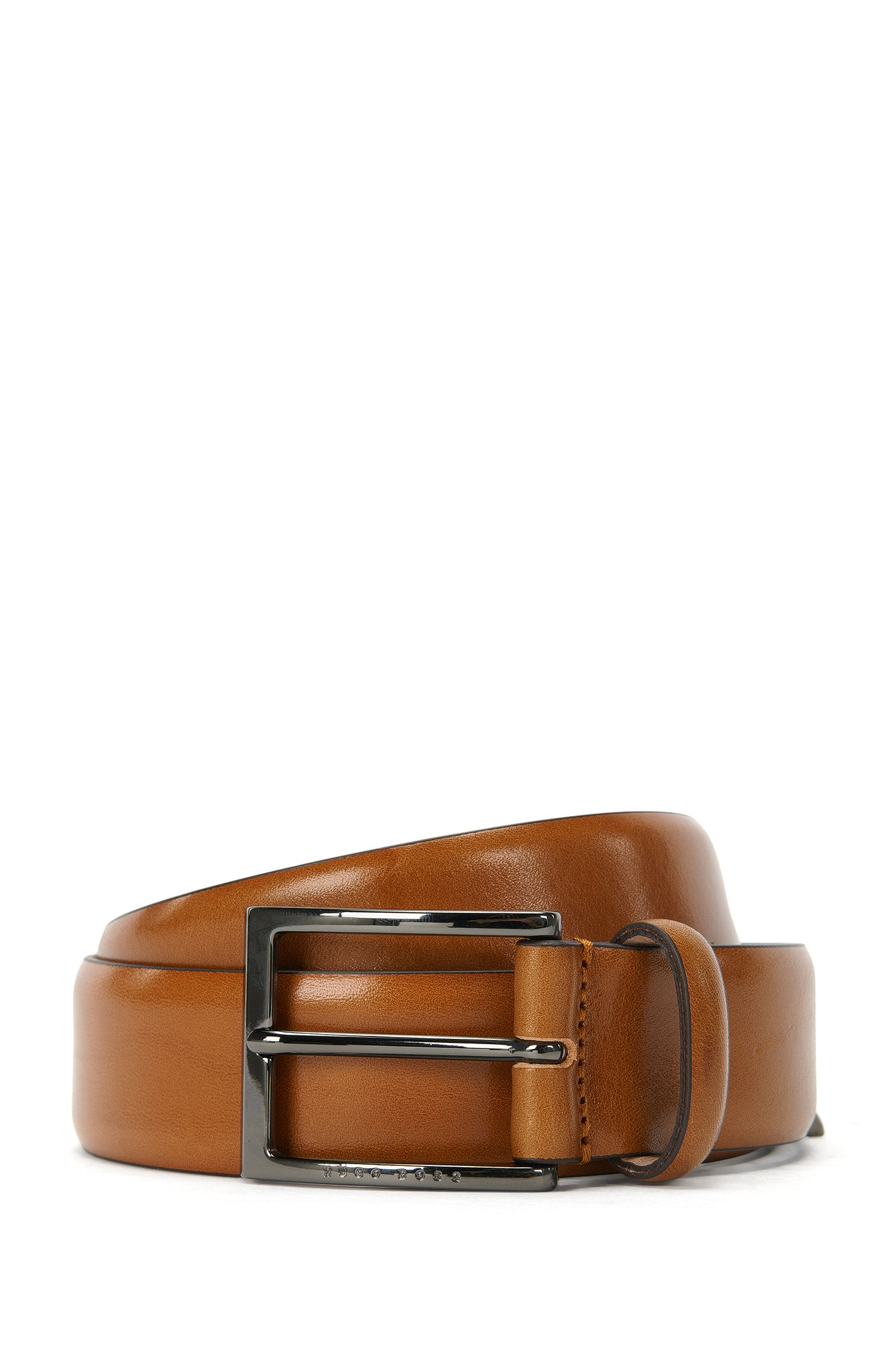 Cinturón de BOSS Tailored en dos tonos en piel de curtido vegetal, Marrón