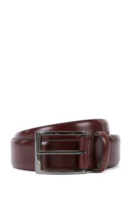BOSS Tailored belt in two-tone vegetable-tanned leather, Dark Red